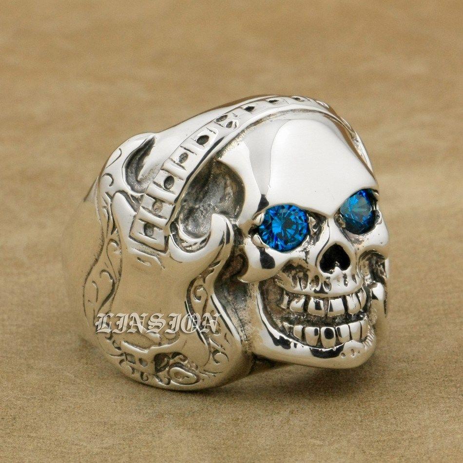 US Size 8 to 14 Guitar Music Skull 925 Sterling Silver Blue CZ Eyes Mens Biker Rocker Punk Ring 8V113 dedo music gifts mg 308 pure handmade rotating guitar music box blue