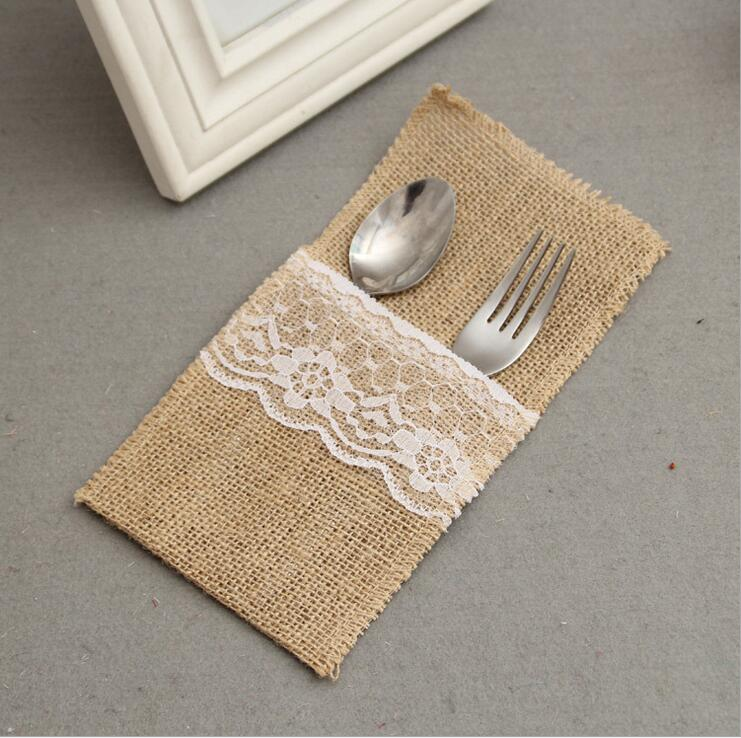24PCS Country Wedding Table Silverware Holder Natural Burlap Cutlery Pockets Fork Pockets rustic wedding decoration centerpieces