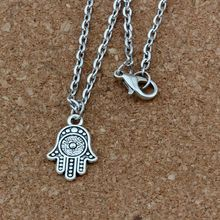 3pcs / lot Antique silver Hamsa Hand Alloy Charms Pendant Necklaces Jewelry DIY 23.6 inches Chains