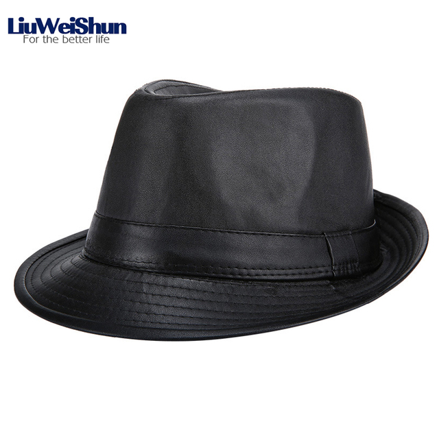 Classic Men PU Leather Jazz Fedora Hat 285f0a3c7b1