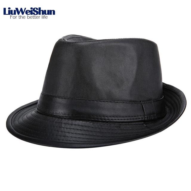 2c43f4bed US $6.23 48% OFF|Classic Men PU Leather Jazz Fedora Hat,Outdoor Dad Warm  Hat Retro British Male Big Brim Fedora Bowler Jazz Hat Size 57 58 59 cm-in  ...