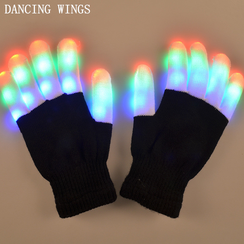 5Pairs/Pack Halloween LED Flashing Glove Glow 7 Mode Light Up Finger Lighting Night Party Glow Party Supplies Glove