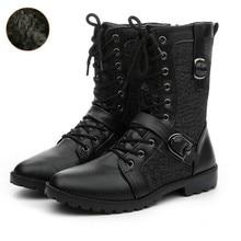 c9a1e20a6 Dwayne Winter Punk Martin Boots Men Fashion PU Leather Lace-up Motorcycle Boots  Black Vintage