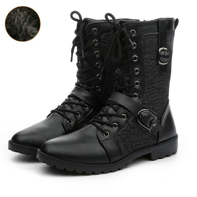 e5b92992652 US $20.79 37% OFF|Dwayne Winter Punk Martin Boots Men Fashion PU Leather  Lace up Motorcycle Boots Black Vintage High Top Buckle Cowboy's  Snowboots-in ...