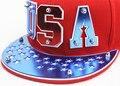 2016 Fashion USA Pattern Acrylic Letter Logo Baseball Hat Rivet Women Flat Hip Hop Street Dance Canvas Snapback Cap Hat  For Men