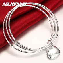 Argent 925 bijoux Multi cercle Triple anneau bracelet coeur breloque bracelets pour femmes argent bijoux cadeaux