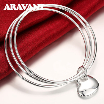 Silver 925 Jewelry Multi Circle Triple Ring Bangle Heart Charm Bangles For Women Silver Jewelry Gifts цена 2017