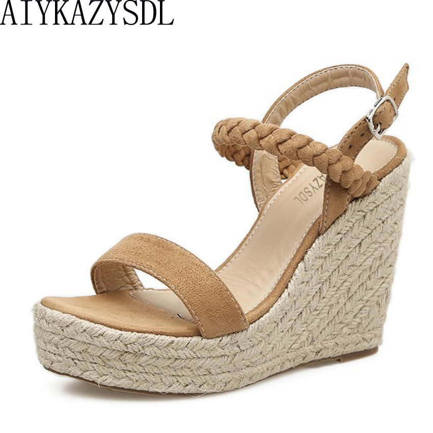 1d7ab3591ab720 AIYKAZYSDL Summer Women High Heel Gladiator Sandals Cane Hemp Straw Wave Shoes  Wedge Sandals Bohemian Thick Bottom Casual Shoes