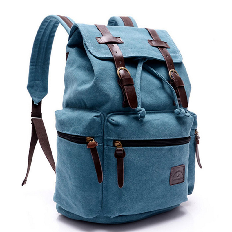 Vintage Retro Canvas Backpack Travel Casual Leather Bags for both Women and Men Bookbag for Teen Girls and Boys 4 color top hot cow leather canvas backpack women vintage backpack casual travel men backpack climbing bag for girls boys