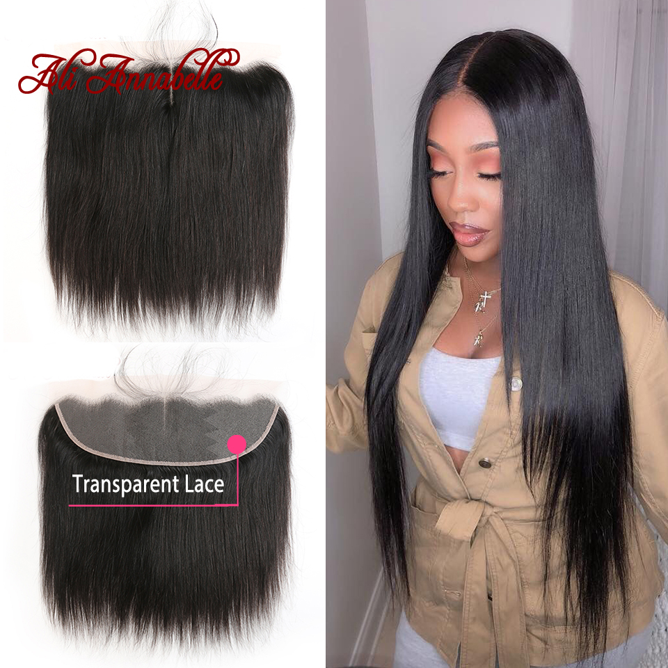 13*4 Human Hair Lace Frontal Closure Transparent Swiss Lace Brazilian Straight Hair Lace Frontal With Baby Hair 10-22 Inch