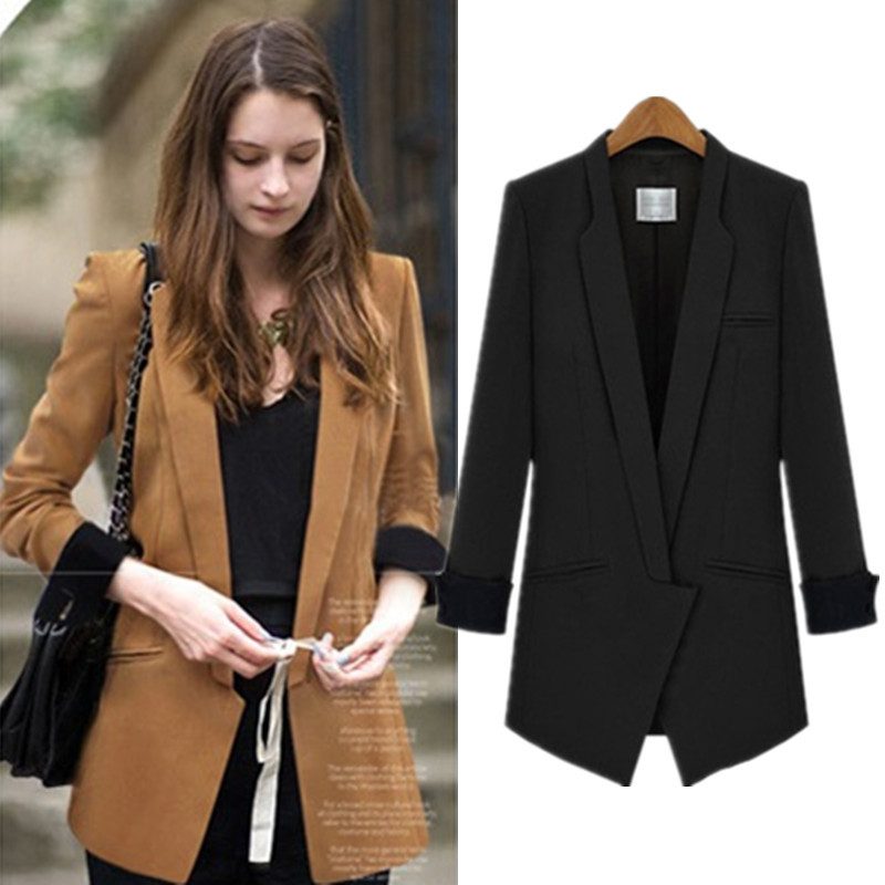 4xl plus size spring new office ladies black suit jacket women long sleeve blaser female blazer. Black Bedroom Furniture Sets. Home Design Ideas