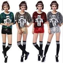 Camisetas de actuación de escenario con letras sexis y lentejuelas para  mujer 31c0cc0d1d4