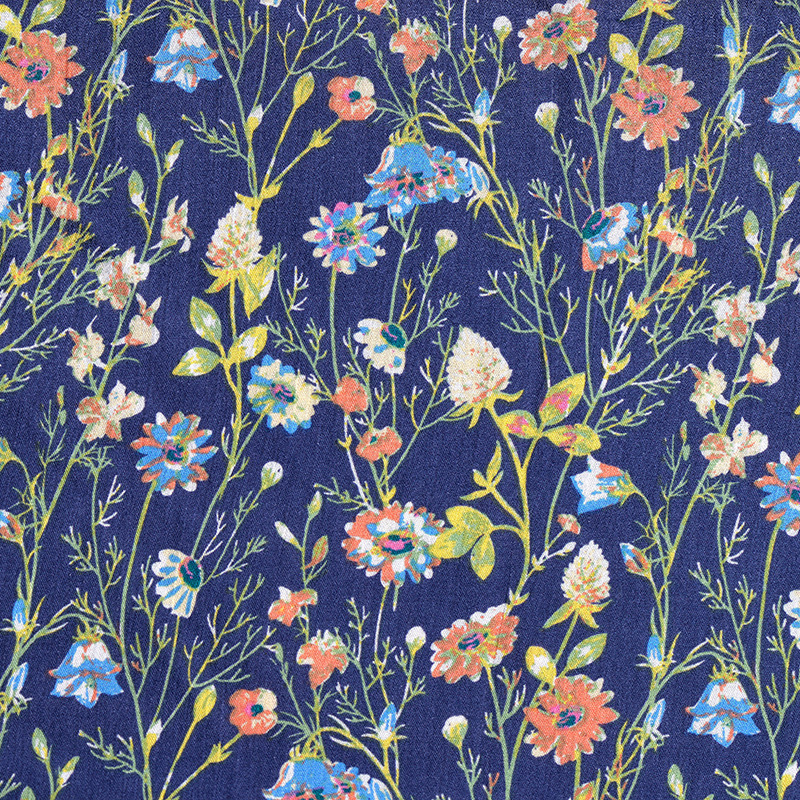 2meter Rayon Cotton Fabric Floral Print Material Cloth For