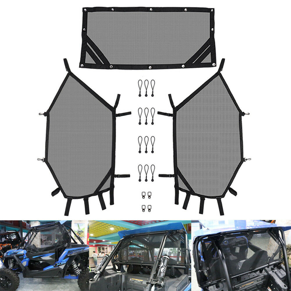 KEMiMOTO UTV Front And Rear Window Net Set UTV Door Scratch Prevention For Polaris RZR 570 800 1000 900 RZR XP 4 UTV Protection