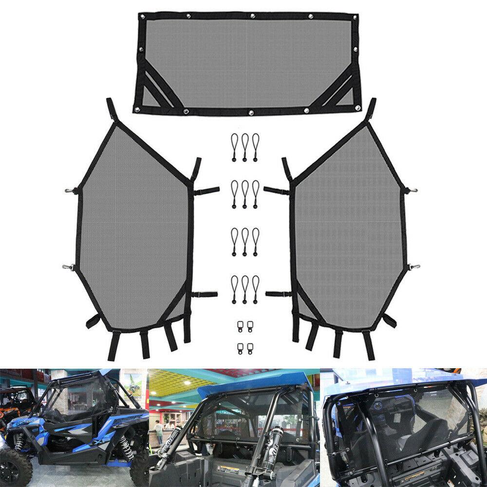 KEMiMOTO UTV Front And Rear Window Net Set UTV Door Scratch Prevention For Polaris RZR 570 800 1000 900 RZR XP 4 UTV Protection