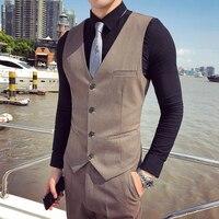 2019 New Fashion Boutique Solid Color Official Business Men's Suit Vest / British Style Men's Slim Casual Vest Wedding