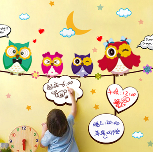 Home wall photos child real whiteboard stickers wall stickers blackboard owl