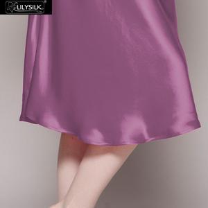 Image 4 - LilySilk 100 jedwabna koszula nocna kobiety bielizna nocna sukienka wieczorowa panie czysty dekolt z krótkim rękawem 22 momme połowy łydki darmowa wysyłka