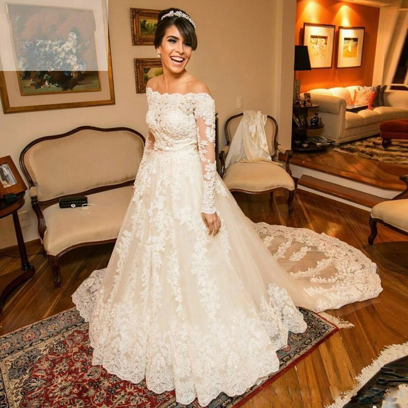 Jeweled Wedding Gowns: Luxury Lace Off Shoulder Wedding Dresses 2017 Beaded Long
