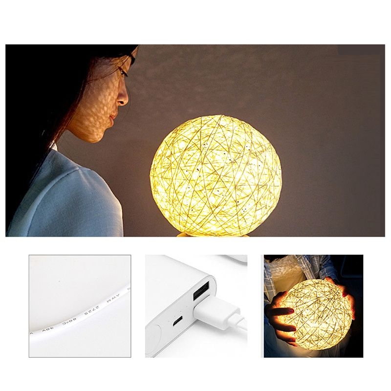 Creative LED Rattan Ball Night Light Button Control Projection Lamp Table Light USB Charging