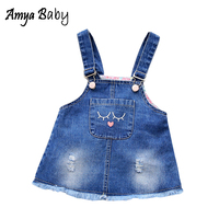 AmyaBaby New Autumn Newborn Baby Girl Dresses Strap Cartoon Tutu Dress Newborn Baby Girl Denim Dresses