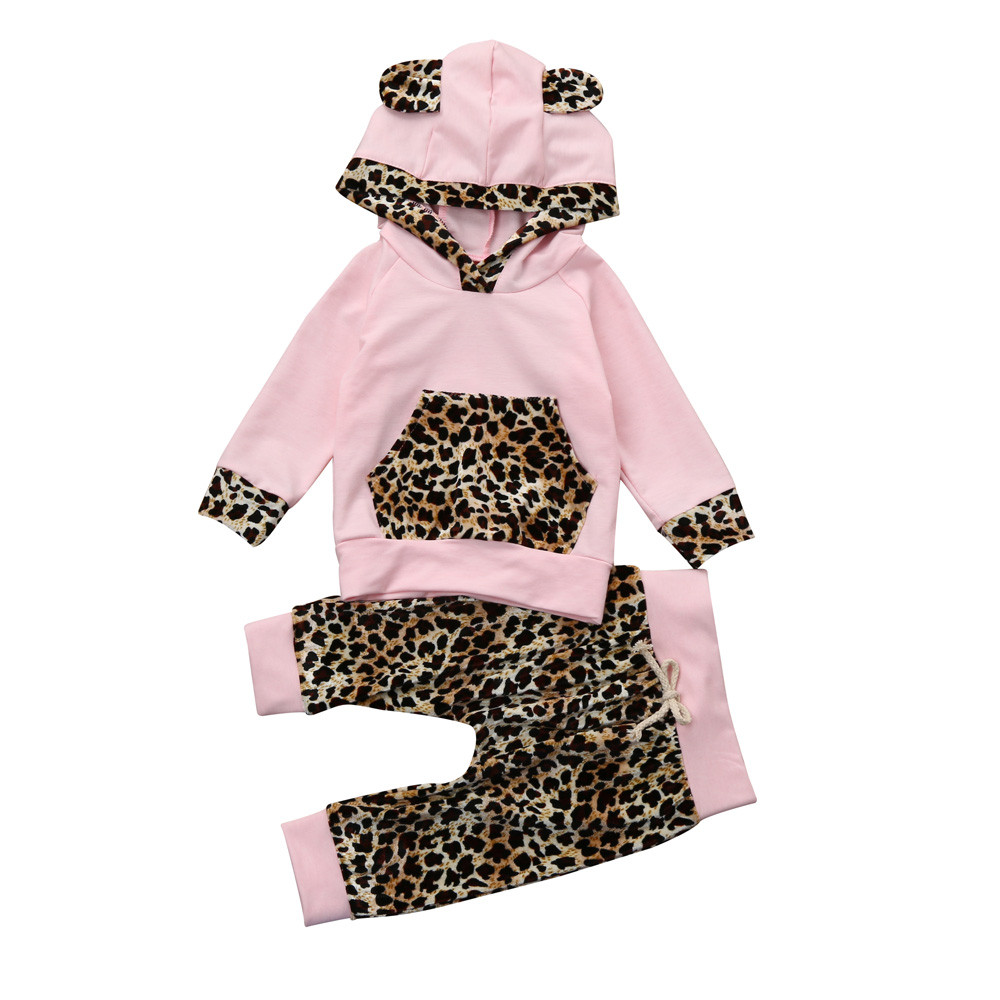 Infant Toddlerm Newborn Baby Girl Clothes Leopard Side Pink Coat Hoodie Top Swea