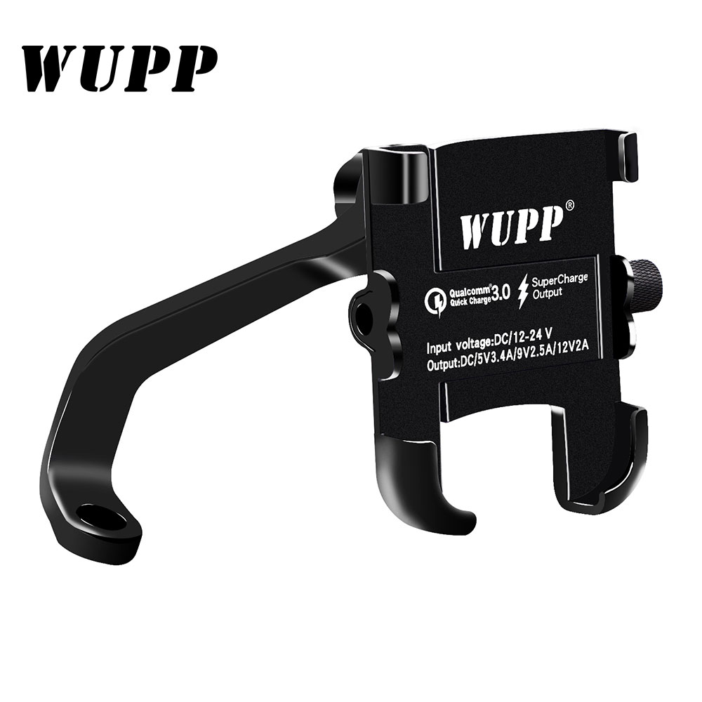 WUPP Universal Phone Holder QC 3.0 Motorcycle USB Charger Waterproof 12V MotorBike Mobile Phone Mount Power Adapter Mirror Mount