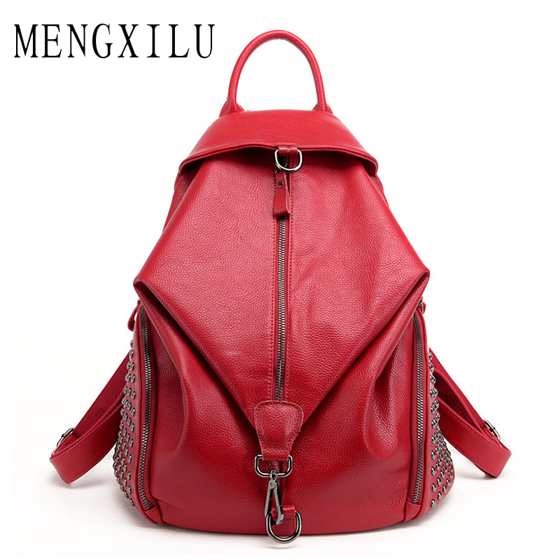 MENGXILU Fashion Leather Backpack Women School Bags For Teenage Girls Backpacks High Quality Rivet Ladies Backpack Sac A Dos New цена
