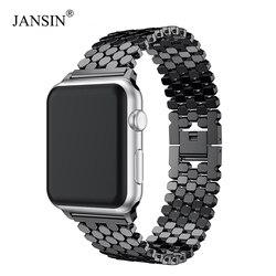 JANSIN bağlantı Paslanmaz Çelik Kayış apple saat bandı için 42mm/38mm/40mm/44mm bilezik saat kayışı ben saat kayışı s serisi için 4 3 2 1