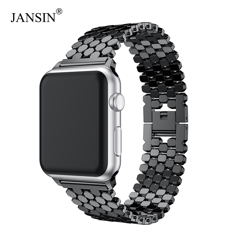 JANSIN enlace correa de acero inoxidable para apple watch banda 42mm/38mm/40mm/44mm pulsera banda de reloj para iwatch bandas serie 4 3 2 1