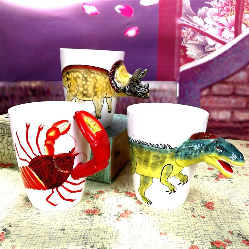 3D dinosaurs coffee mugs ceramic cups and mugs handpainted mark funny drinkware