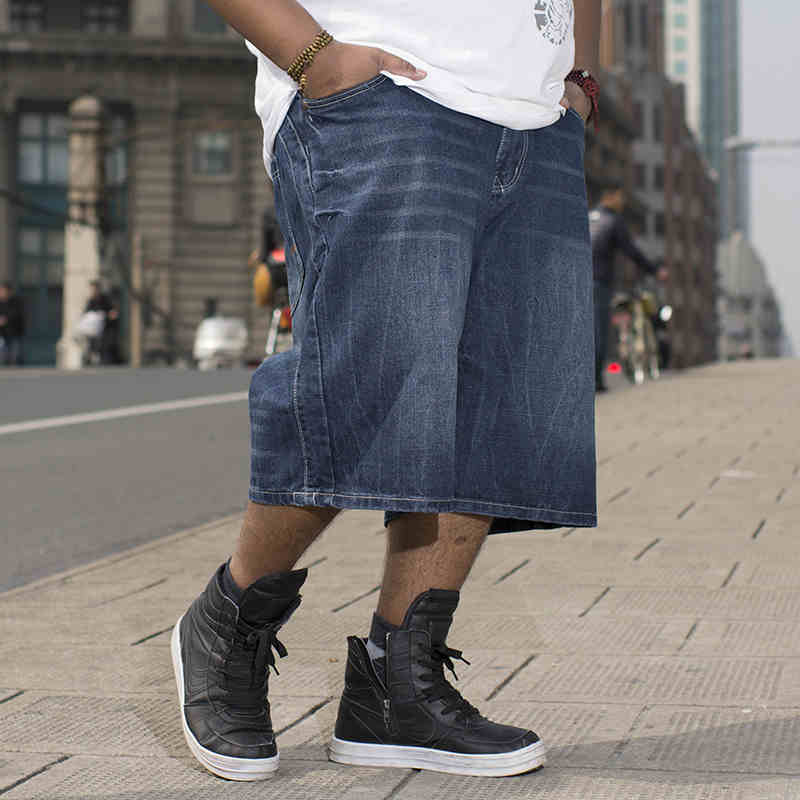 ФОТО Mens Blue Baggy Jeans Pants Straight Loose Jeans For Big Men Summer Jeans Skateboard Shorts Plus Size 36 38 40 42 44 46