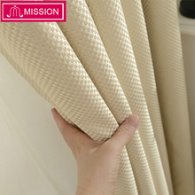 MISSION Faux Linen Solid Color Blackout Curtain Window Treatment Drape Square Style Curtains Blinds for Bedroom Living Room
