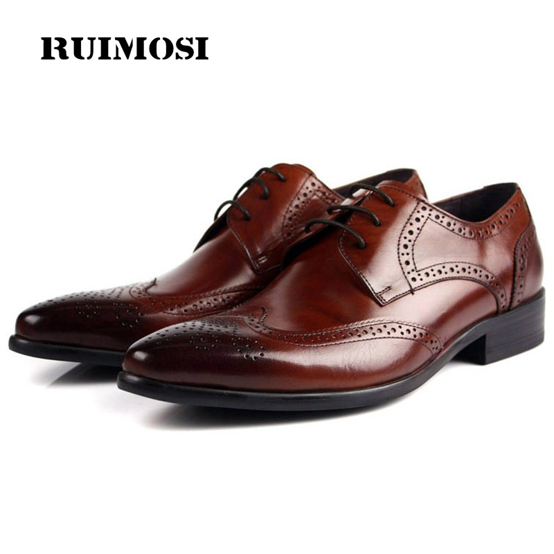 RUIMOSI Vintage Man Dress Shoes Genuine Leather Brogue Oxfords Luxury Brand Pointed Toe Italian Style Men's Wing Tip Flats ZH45