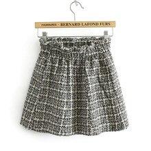 Модная женская мини-юбка Осенняя винтажная прямая клетчатая короткая юбка с высокой талией Женская плиссированная юбка в японском стиле