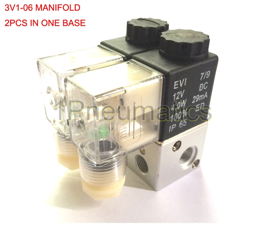 Free Shipping 2pcs IN a Manifold 3 way Pneumatic Aluminium Solenoid Valve 3V1-06 1/8'' DC12V Micro Control Gas Electric Valve free shipping thread 1 8 3 way valve high quality mini water solenoid valve 1pc vx2320 06 dc12v