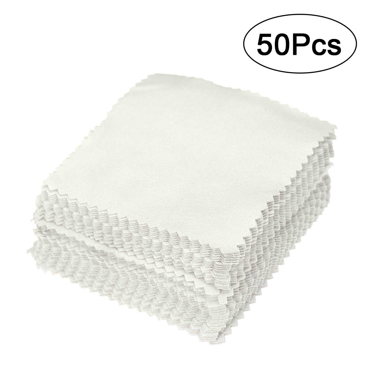 50pcs 8x8cm Jewelry Cleaning Cloth Polishing Cloth for Sterling Silver Gold Silver- Beads