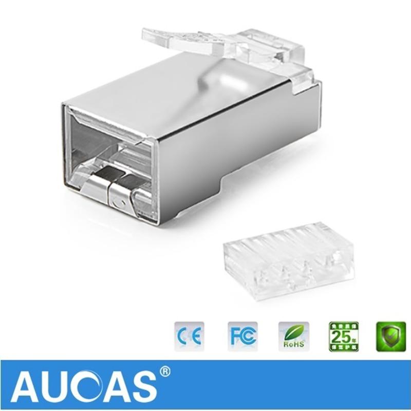 AUCAS högkvalitativ 50st 100pcs rj45 kontaktplugg cat6 skärmad 8p8c - Datorkablar och kontakter - Foto 4