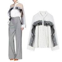 Women Tops And Long Sleeve Blouses New 2018 Latest Brand Runway Fashion Ruffles Shirt Chiffon Street