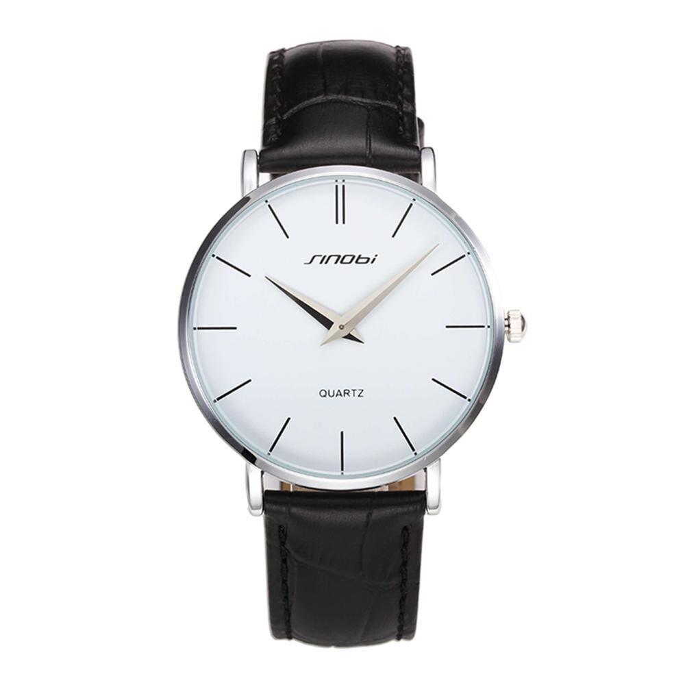 Super slim Quartz Casual Wristwatch Business Luxury Brand SINOBI Leather Analog Stainless Steel Case Quartz Watch Men's Fashion