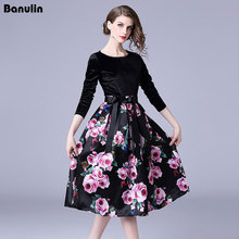 Banulin Runway Winter Women Dress 2018 Fashion Floral Prints Long Sleeve Patchwork Velvet Dresses Party Swing Midi Vestidos