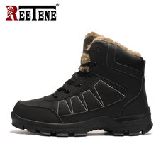 REETENE Leather Men Boots Winter Mens Snow Boots Winter Boots Men Casual Sport Shoes Warm Fur Winter Work Casual Shoes Sneakers(China)