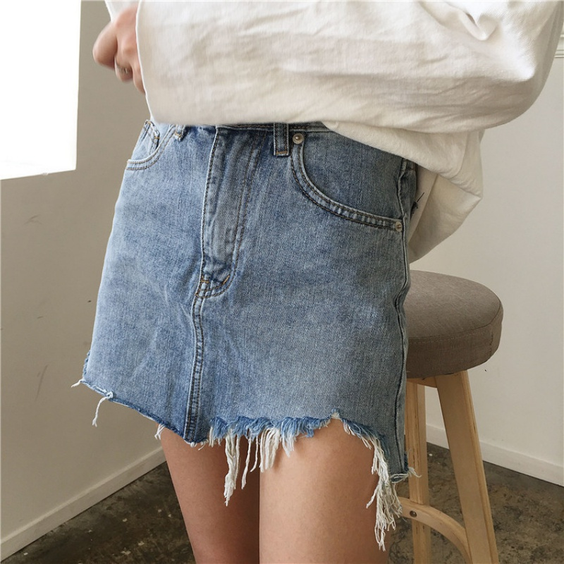 Summer Skirt High Waist Pencil Washed Irregular Edges Skirts Jeans All Match Mini Womens Skirt
