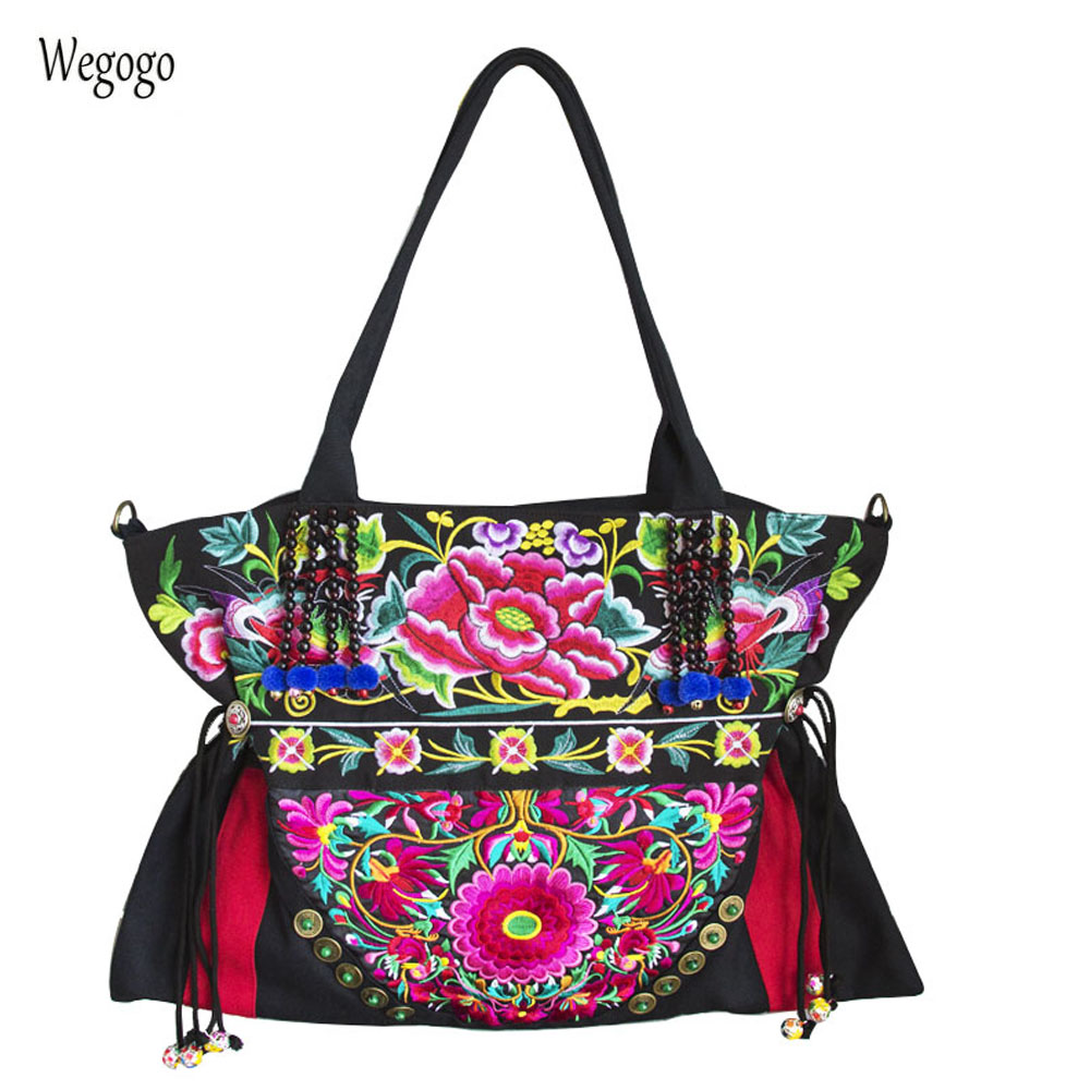 Bohemia Thailand India Women Shoulder Bags Floral Embroidered Handbags Cloth Bag Large Capacity Travel Beach Messenger Bag sweet women s floral embroidered cold shoulder crop top