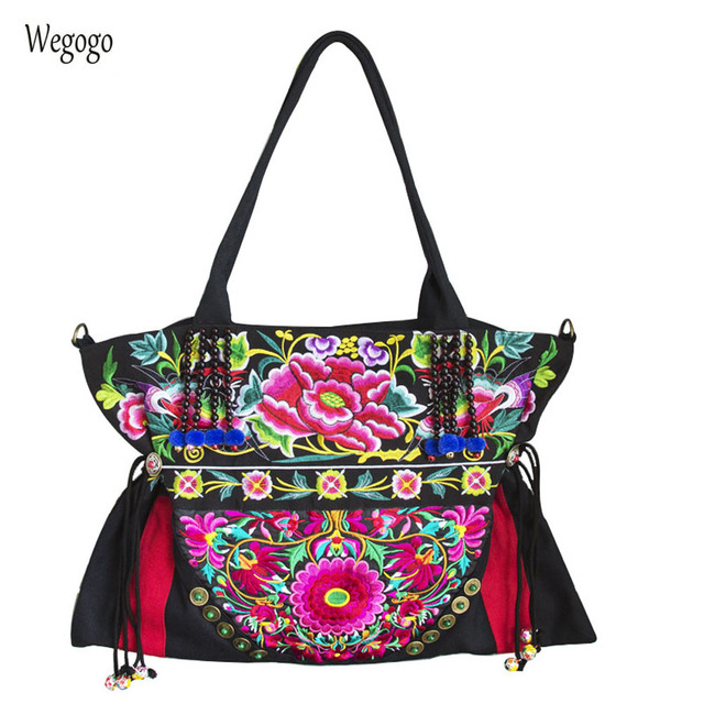 Bohemia Thailand India Women Shoulder Bags Fl Embroidered Handbags Cloth Bag Large Capacity Travel Beach Messenger