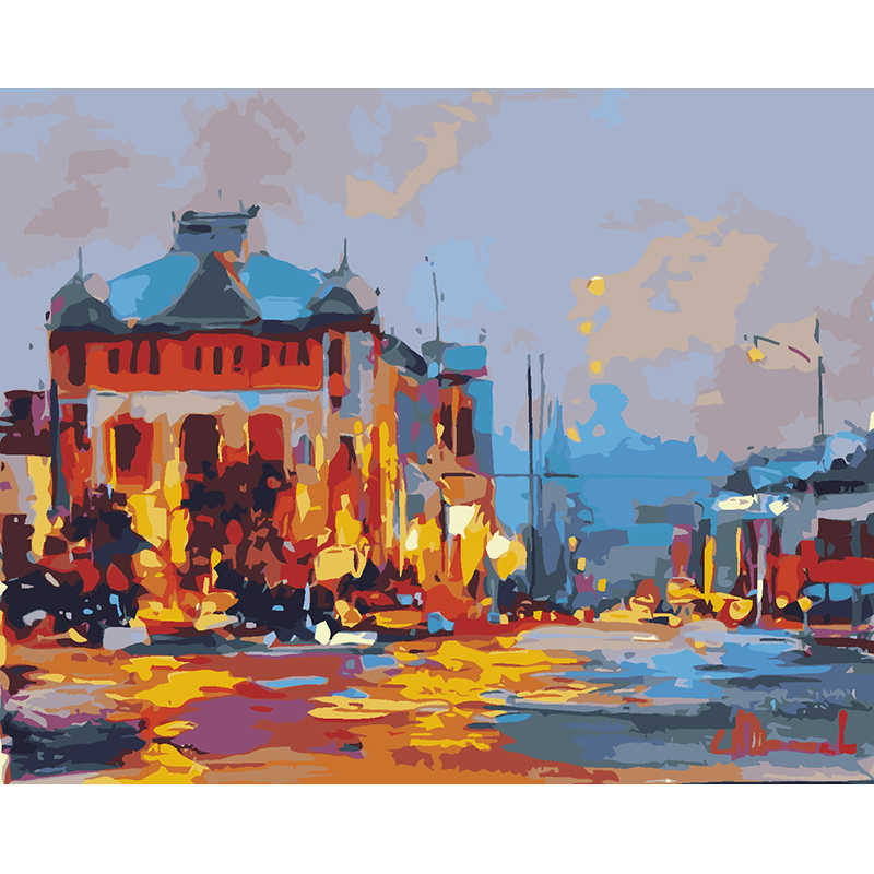 Frameless Picture On Wall Acrylic Paint By Numbers Diy Painting By Numbers Unique Gift Oil Painting Abstract landscape town