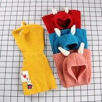 LYONAVA 2018 knit hat children's neckerchief pure color baby rabbit ear cape baby shawl cute warm fashion wool set head hat