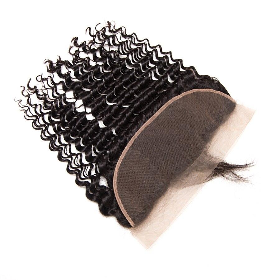 Mslynn Cheveux Brésiliens Deep Wave Fermeture Pré Dentée Plumée - Cheveux humains (noir) - Photo 5