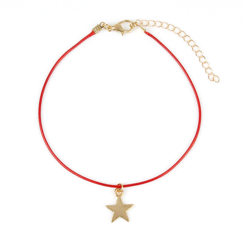 2019 retro new simple fashion accessories anklet wax line red rope anklet five pointed star pendant beach summer fashion anklet in Anklets from Jewelry Accessories