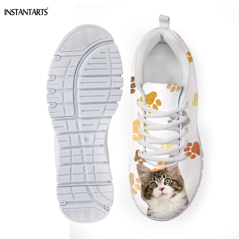 INSTANTARTS Kawaii 3D Animal Maine Coon CatKitten Print Sneakers for Girls Brand Designs Summer Breathable Lace Up Flats Shoes
